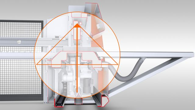 Sophisticated power triangle on the cutting line for permanently ideal sawing performance